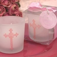 Ornate Cross Pink Glitter Candles