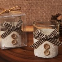 Burlap and Buttons Rustic Candle Holder Favors