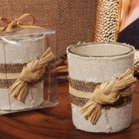 Rustic Burlap Candle Holder Favors
