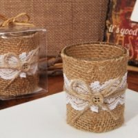 Burlap and Lace Rustic Candle Holder Favor