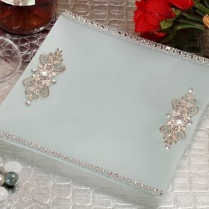 Square Glass Tray with Crystal Accents Wedding Favor image