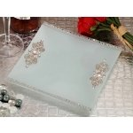 Square Glass Tray with Crystal Accents Wedding Favor