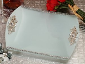 Elegant Square Glass Tray with Crystal Accents image