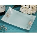 Rectangular Glass Tray Favors with Silver Floral Accents