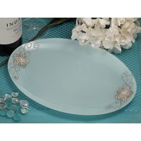 Oval Glass Tray Favors with Silver Floral Accents