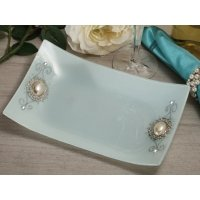 Pearl Accented Rectangular Glass Tray Favors