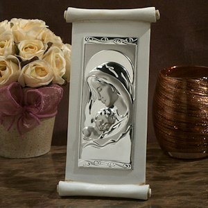 Large Elegant Ivory Scroll Religious Icon Favor image