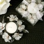 Elegant Frosted White Glass Flower Candle Holder