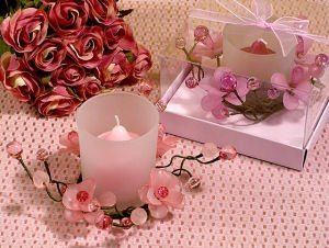 Elegant Frosted Pink Flower Glass Candle Holder image