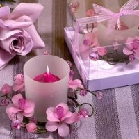 Elegant Frosted Lavender Flower Glass Candle Holder