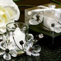 Elegant Black and White Crystals Flower Candle Holder