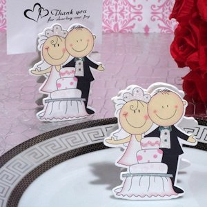 wedding cake card holder of cake and groom place card holder 22165