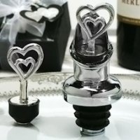 Two Hearts Combo Wine Pourer and Bottle Stopper Favors
