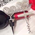 Ornate Heart Wine Stopper & Opener Set