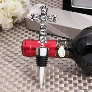 Stunning Cross Design Bottle Stopper Favor image