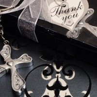 Silver Finish Cross Keychain Favors