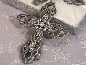 Ornate Pewter Finish Cross Favors image