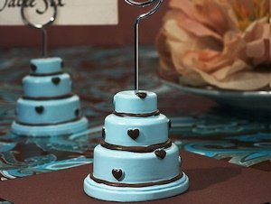 Blue and Brown Hearts Wedding Cake Place Card Holder image