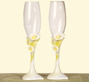 Elegant Lily Collection Toasting Flutes image