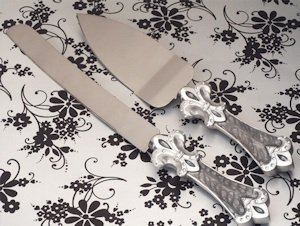 Fleur De Lis Collection Cake and Knife Set image