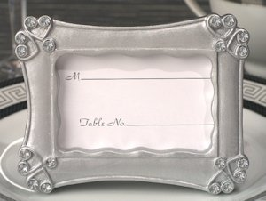 Contemporary Hearts Silver Place Card Frame Favors image