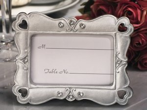Stylish Silver Hearts Place Card Frame Favor image