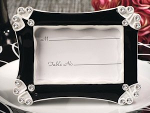Contemporary Hearts Black and White Place Card Frames image