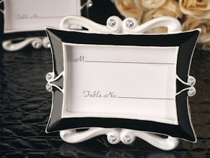 Black and White Elegance Place Card Frame Favors image