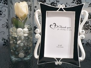 Black and White Elegance Photo Frame Wedding Favors image