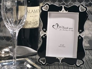 Elegant Hearts Black and White Photo Frame Favors image