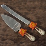 Splendid Autumn Cake Server and Knife Set