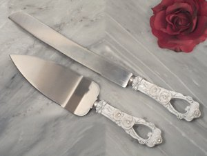 Elegant Rose Cake Server Set image