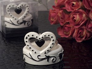 Stylish Damask Hearts Candle Holder Favors image