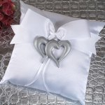Two Hearts Beat as One Ring Pillow