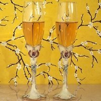 Lucky in Love Western Wedding Toasting Flutes