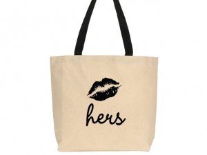 Hers Smooch Design Canvas Tote Bag image