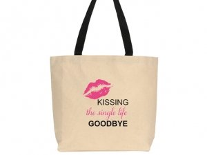 Kissing The Single Life Goodbye Design Canvas Tote Bag image
