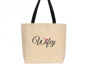 Wifey Heart Design Canvas Tote Bag image