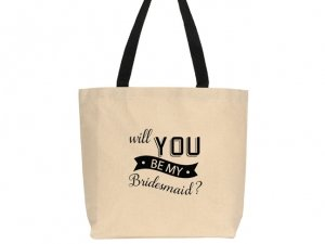 Will You Be My Bridesmaid Banner Design Canvas Tote Bag image
