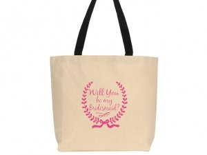 Will You Be My Bridesmaid Wreath Design Canvas Tote Bag image