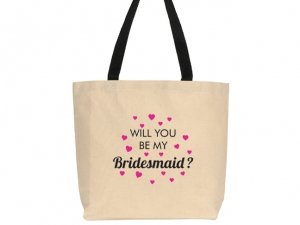 Will You Be My Bridesmaid Design Canvas Tote Bag image