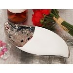 Ornate Elegance Porcelain Bowl Accented with Silver Trim