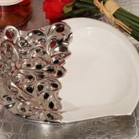 Ornate Elegance Silver Accented Square Porcelain Bowl