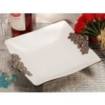 Rectangular Porcelain Bowl with Floral Silver Trim Accents
