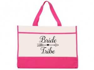 Bride Tribe Design Pink and Natural Tote Bag image