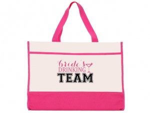 Brides Drinking Team Pink and Natural Tote Bag image