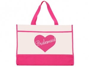 Bride Heart Design Pink and Natural Tote Bag image