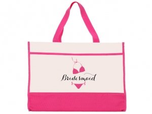 Bridesmaid Bikini Design Pink and Natural Tote Bag image