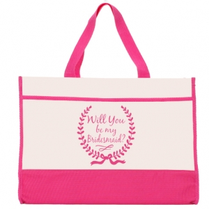 Will You Be My Bridesmaid Wreath Design Pink & Natural Tote image