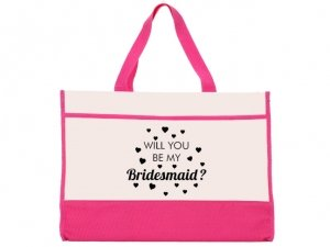 Will You Be My Bridesmaid Design Pink and Natural Tote Bag image